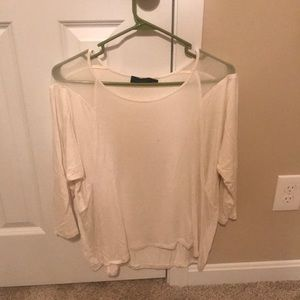 Cream three quart sleeve blouse
